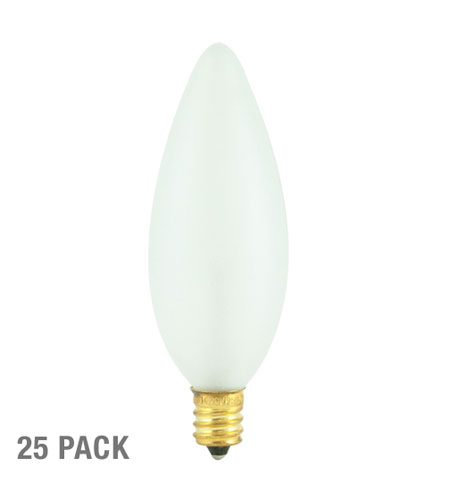 Bulbrite 25W 130V Incandescent Torpedo Chandelier Bulb, 32mm, Frost, 25-Pack 25CTF/32/2-25PK photo