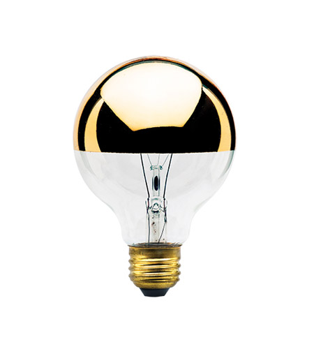 Bulbrite 40G25HG-6PK Half Gold Incandescent G25 E26 40 watt 120V 2700K Bulb, Pack of 6 photo