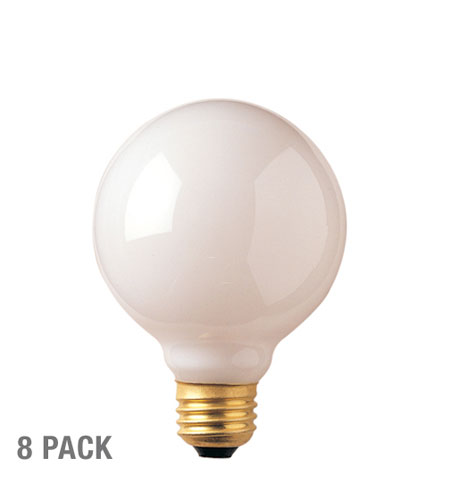 Bulbrite 40G25WH2-8PK Globes Incandescent G25 E26 40 watt 120V 2700K Bulb in 8, White photo