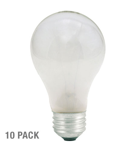Bulbrite 60W 130V Long Life Standard Incandescent A19, Frost, 10-Pack 60A-10PK photo