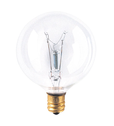 Bulbrite 60W G16 Globe 120V Candelabra Light Bulb, Clear 60G16CL2 photo