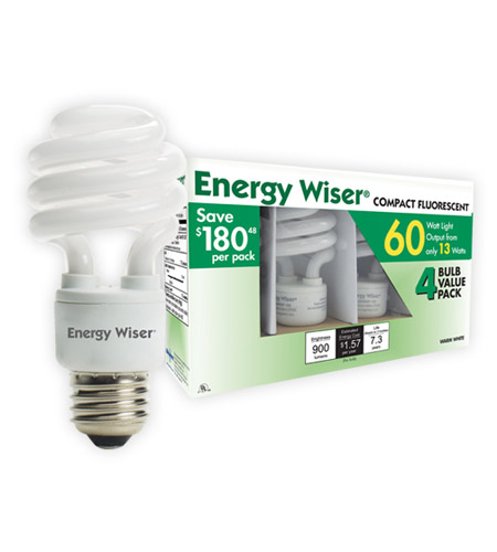 Bulbrite 13W 120V Energy Wiser Compact Fluorescent Coil 4-Pack, Cool White CF13CW/4P photo
