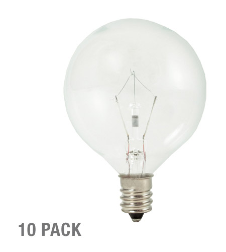 Bulbrite KR15G16CL-10PK Krystal Touch Krypton G16 1/2 E12 15 watt 120V 3000K Bulb in 10 photo