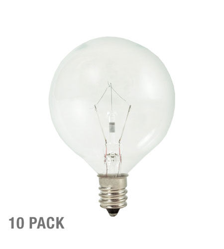 Bulbrite 25W Krystal Touch G16 Globe Chandelier Bulb, Candelabra Base, 10-Pack KR25G16CL-10PK photo