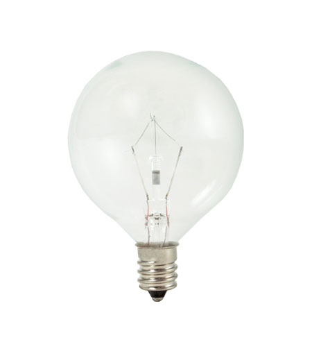 Bulbrite 60W Krystal Touch G16 Globe Chandelier Bulb, Candelabra Base KR60G16CL