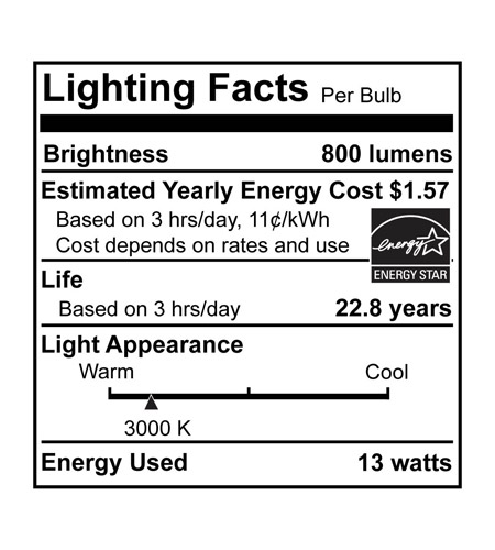 Bulbrite LED13PAR30S/WFL/830/D/2 Norm 2.0 LED PAR30 E26 13 watt 120V 3000K LED Bulb in Wide Flood LED13PAR30S_WFL830_D_2_FTC_LABEL.jpg