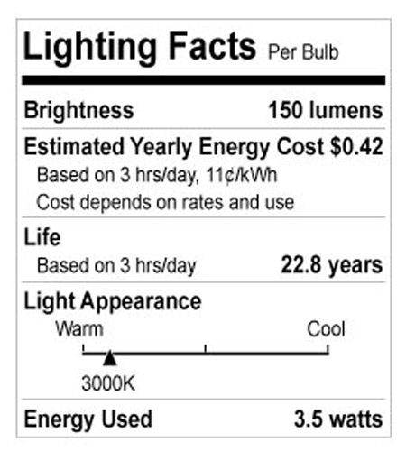 Bulbrite LED3MR11NF/30K MRs LED MR11 GU4 3.5 watt 12V 3000K LED Bulb