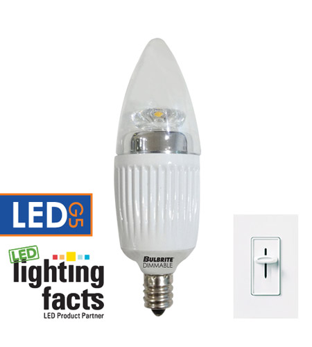 Bulbrite LED5CTC/27K/D Chandelier LED B11 E12 5 watt 120V 2700K Bulb photo