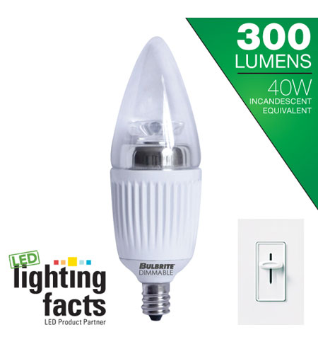 Bulbrite LED5CTC/D LED Dimmable LED B11 E12 5 watt 120V 3000K Bulb photo