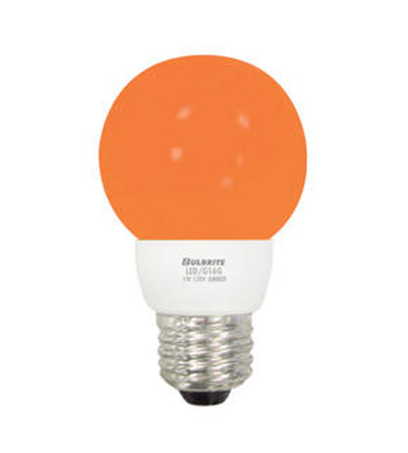 Bulbrite LED/G16A LED Non-Dimmable LED G16 E26 1 watt 120V Bulb in Amber  photo