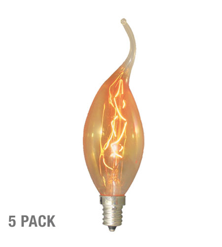 Bulbrite 15W Nostalgic Flame Tip Chandelier Bulb, 5-Pack NOS15CFA-5PK photo