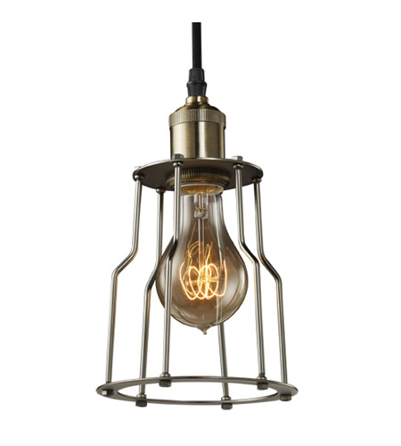 Bulbrite NOS/PEND/CAGE-PW Nostalgic 1 Light 7 inch Pewter Pendant Ceiling Light in Cage photo