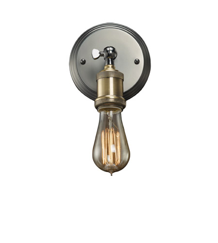 Bulbrite NOS/SCON/BARE-PW Nostalgic 1 Light 6 inch Pewter Wall Sconce Wall Light in Bare  photo