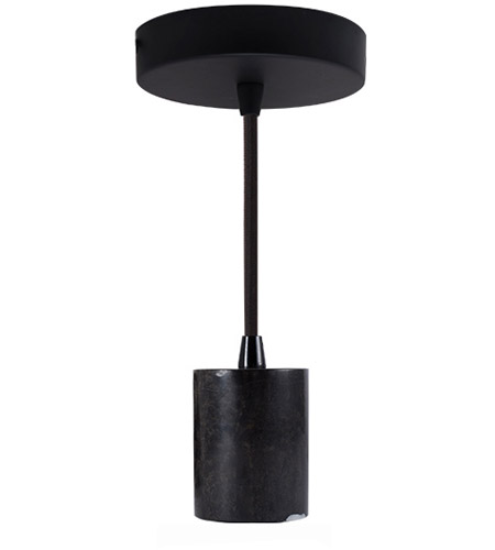 Bulbrite PEND/HW/NAT/BLK-BLK Natural Marble 1 Light 5 inch Black Marble and Black Pendant Ceiling Light photo