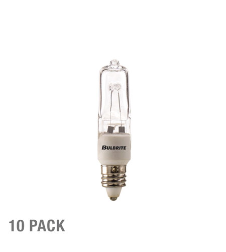 Bulbrite Q75CL/MC-10PK J-Type Halogen T4 E11 75 watt 120V 2700K Bulb in Clear, 10  photo