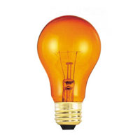 Colored Bulbs Incandescent A19 E26 25 watt 120V 2700K Bulb in Transparent Orange