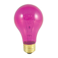 Colored Bulbs Incandescent A19 E26 25 watt 120V 2700K Bulb in Transparent Pink