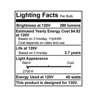 Bulbrite 40W 130V Long Life Standard Incandescent A19 2-Pack, Frost 40A alternative photo thumbnail