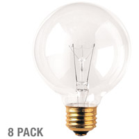 Globes Incandescent G25 E26 40 watt 120V 2700K Bulb in 8, Clear