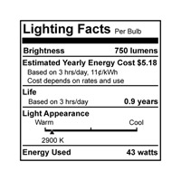 Bulbrite 43A19SW/ECO General Service Halogen A19 E26 43 watt 120V 2900K Bulb in White alternative photo thumbnail
