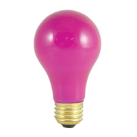 Colored Bulbs Incandescent A19 E26 60 watt 120V 2700K Bulb in Ceramic Pink