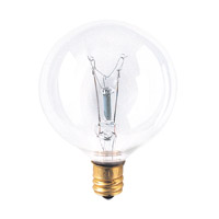 Bulbrite 60W G16 Globe 130V Candelabra Light Bulb, Clear 60G16CL3