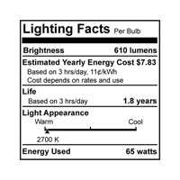 Bulbrite 65W 120V Incandescent BR30 Indoor Reflector Flood, 2-Pack 65BR30FL2/2P alternative photo thumbnail