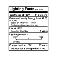 Bulbrite 75W 130V Long Life Standard Incandescent A19 2-Pack, Clear 75A/CL alternative photo thumbnail