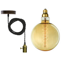 Bulbrite NOS60-GLOBE/PEND/H/SET Grand Nostalgic 1 Light Black Pendant Ceiling Light, Spiral photo thumbnail