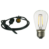 Bulbrite STRING15/E26/BLACK-LED2S14-KT Signature 15 Light LED 48 foot Black Outdoor String Lights