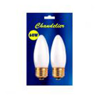 Bulbrite 25 Watt Incandescent B10 Torpedo Chandelier Bulb Medium Base Frost 2-Pack B25ETF
