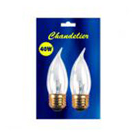 Bulbrite 40 Watt Incandescent CA10 Flame Tip Chandelier Bulb Medium Base Clear 2-Pack B40EFC