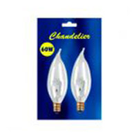 Bulbrite 60 Watt Incandescent CA10 Flame Tip Chandelier Bulb Candelabra Base Clear 2-Pack B60CFC