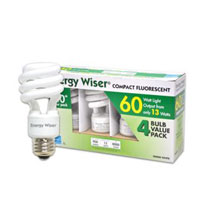 Bulbrite 13-Watt Energy Wiser Compact Fluorescent Coil, Warm White (2700K), 4-Pack CF13WW/4PK