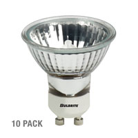 Bulbrite 35W 120V Halogen, MR16 Lensed GU10 Base, Flood, 10-Pack FMW/GU10-10PK