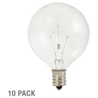 Bulbrite 15W Krystal Touch G16 Globe Chandelier Bulb, Candelabra Base, 10-Pack KR15G16CL-10PK photo thumbnail
