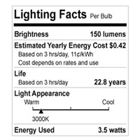 Bulbrite LED3MR11NF/30K MRs LED MR11 GU4 3.5 watt 12V 3000K LED Bulb thumb