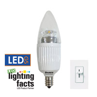 Bulbrite 5-Watt Dimmable LED B11 Chandelier Bulb, Candelabra Base, Clear LED5CTC/27K/D