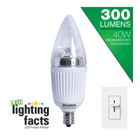 Bulbrite 5-Watt Dimmable LED Chandelier, Warm White LED5CTC/D photo thumbnail