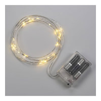 Bulbrite Starry Lights Single-Strand Battery Powered Base LED Outdoor String Light in Silver LED/STAR/SIL/S/27K