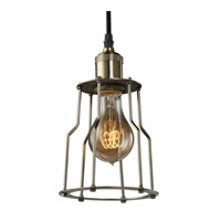 Bulbrite Nostalgic 1 Light Pendant in Pewter With Cage NOS/PEND/CAGE-PW