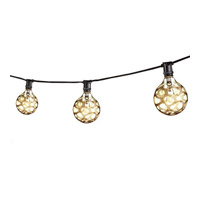 Bulbrite STRING15/E12/BLACK-B10MAR-KT String Light 15 Light 25 foot Black Outdoor String Lights in 1500, E12, Black/Amber Marble