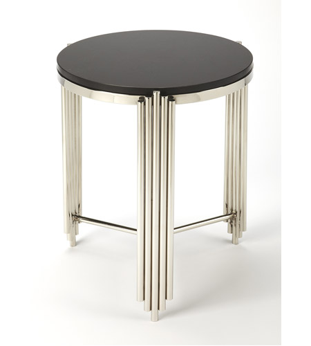 Khalifa Black Granite 23 X 18 Inch Metalworks Accent Table