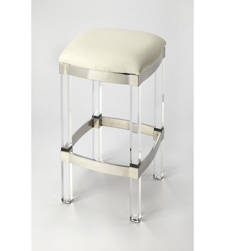 Astounding Butler Loft Jordan Acrylic White Leather 24 Inch White Leather Barstool Evergreenethics Interior Chair Design Evergreenethicsorg