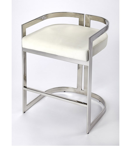 Surprising Butler Loft Bravo Silver White Faux Leather 28 Inch Nickel Plated Barstool Gamerscity Chair Design For Home Gamerscityorg
