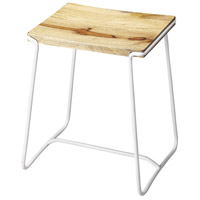 Butler Loft Parrish Wood & White Metal 22 inch Barstool