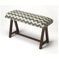 Accent Seating Keating Zig Zag Upholstered Blue Bench