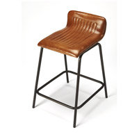 Industrial Chic Ludlow Leather & Metal 29 inch Brown Leather Barstool