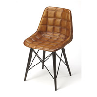 Industrial Chic Patty  Brown Leather Accent Chair