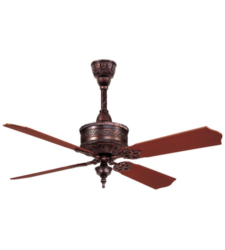 Casablanca 19th Century 4 Blade 54 inch Ceiling Fan Unipack in Weathered Copper with Mahogany Blades 99U32T